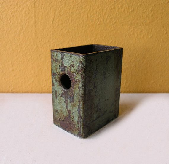 Industrial Utensil Holder, Sea Green, Upcycled Metal by Paula Art eclectic cabinet and drawer organizers