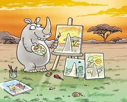 Photos, Rhino Art, Pointofview, Point Of View, Too Funny, Humor, Perspective, So Funny, Painting