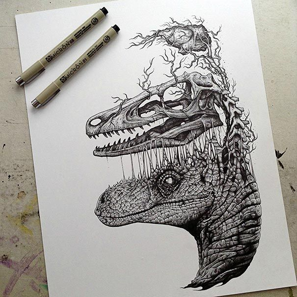 Paul Jackson, a British artist based in Toronto, creates stunningly detailed and dark pen-and-pencil drawings of various animals with their skeletons and sometimes organs lifting out of their bodies. - via BoredPanda