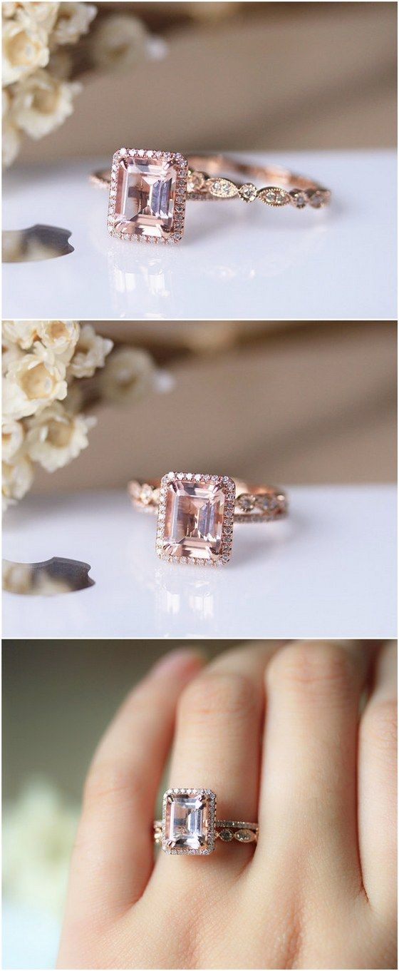 7x9mm Emerald Cut VS Morganite Solid 14K Rose Gold Ring Set Morganite Engagement Ring Set Wedding Ring Set / http://www.deerpearlflowers.com/engagement-rings-from-etsy/