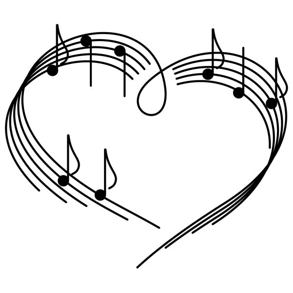 corazon con notas musicales - Buscar con Google