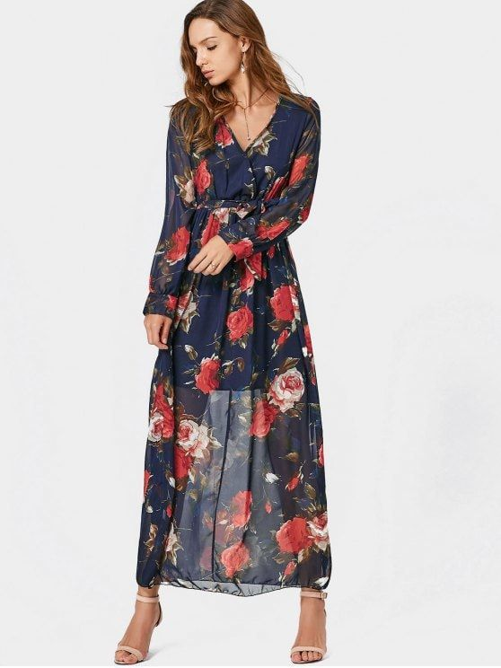 a93bb45e162 V Neck Floral Print Belted Maxi Dress. #Zaful #Dress Zaful,zaful dress,zaful  outfits,black dress,dress,dresses,fashion,fall fashion,fall outfits,winter  ...