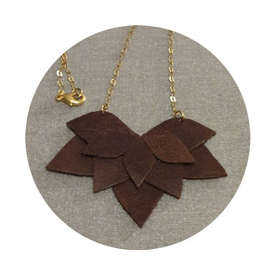 Leather necklace Brown leaves by maayanhus on Etsy