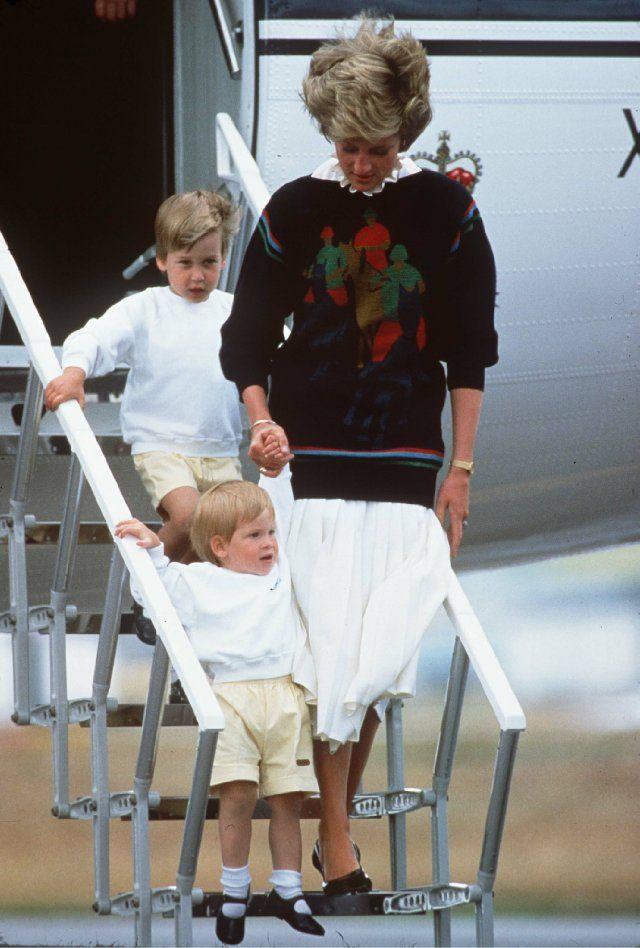 Princess Diana, Prince Harry Windsor and Prince William Windsor. Ha! Look at Harry's shoes.