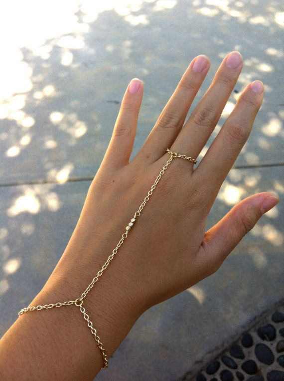 LAST Gold Chain 3 Matte Nugget Bead Bracelet Ring Hand Harness