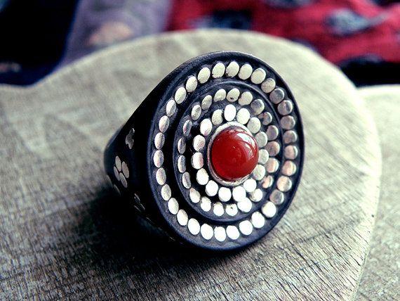 wood ring wooden ring african ring carnelian ring by CarmelaRosa