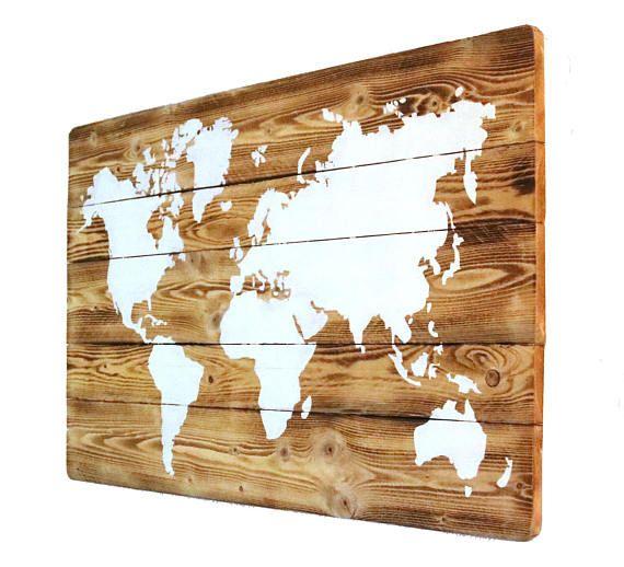 Carte Du Monde Sur Bois.World Map On Wood With Led Lighting Mural Handmade Rustic White