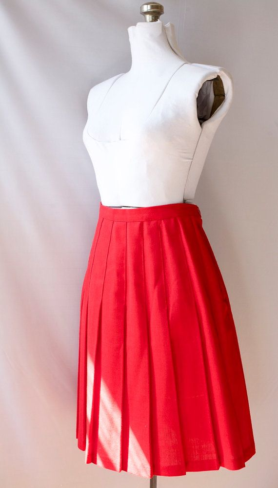 Perfect Pleated  Skirt   1980's Red Vintage  by PomegranateVintage, $35.00