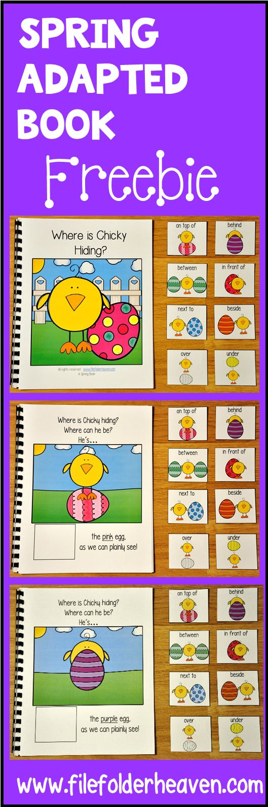 """This Easter Free Adapted Book, """"Where is Chicky Hiding?"""" is an interactive book teaches prepositions or positional words and reinforces colors and color words.   In this activity, the teacher or therapist reads the story as the students identify Chicky's 's position in relation to each colored Easter egg on each page. Students will match a position or preposition card to each page as the teacher reads."""