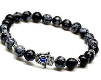 Protection Bracelet, Bracelet obsidienne flocon de neige, Pierre Mens Bracelet, Bracelet de l'énergie, poignet Mala, Bracelet bleu Evil Eye pour homme, pour homme cadeau