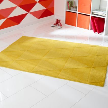 B Q Colours Lucille Yellow Rug L 1 7m W 2m Diy And Crafts Rugs