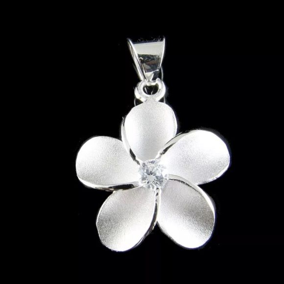 "Sterling Silver Plumeria 925 Necklace Brand new solid 925 sterling silver Hawaiian plumeria flower pendant with 925 chain                   Description : * Flower size: 15mm (approx. 5/8"").  * Petal: brush finish.  * Weight: approx. 1.2 gram.  * Stone: white/clear Cubic Zirconia (CZ). * Stamp: 925  Hawaiian plumeria represents ""perfection"" & the joining together of everything that is good, and most signifies the season of spring when new life is created in the plant kingdom.    Great for…"