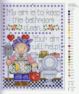 Bathroom cleaner - free cross stitch pattern
