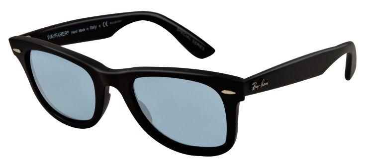 Ray Ban Wayfarers Matte Black Blue Polarized Sunglasses RB2140 901S3R