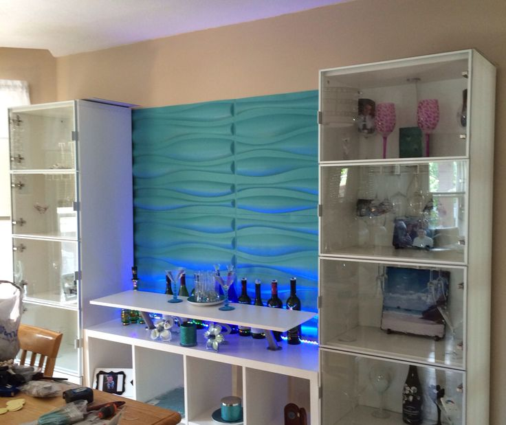 3d Textured Wall Panels Up Lighted With LED Lights. I Kea