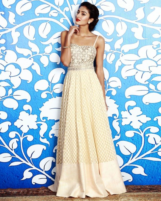 Cream Gown with Gota Embroidered Yoke - Anita Dongre - Designers