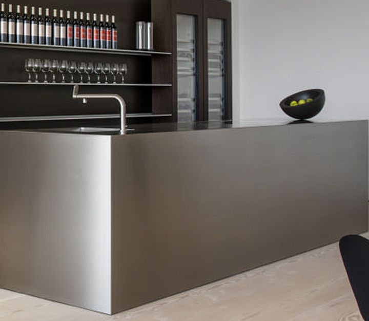 Close up of bulthaup monoblock in stainless steel at the for Kitchen designs johannesburg south africa