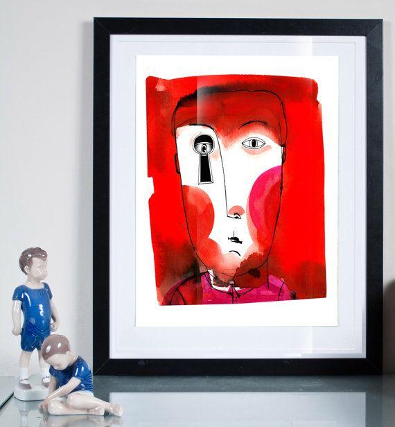 key hole ... Illustration art giclée print Signed by Tomek Wawer #tomasz wawer #poster #red #head #peeping Tom