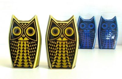 Owl cruet sets,1966 by Hornsea Pottery, designed by John Clappison.