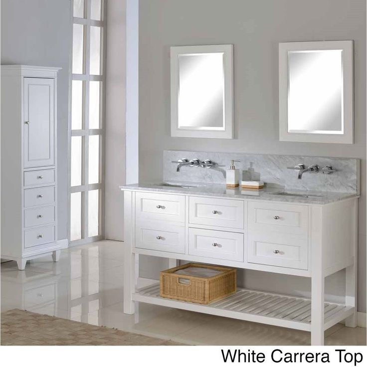 The pearl white finish wood of this mission style bathroom vanity cabinet features two functional center drawers on soft closing glides flanked with two doors with faux drawer front on the left and right, also on soft closing mechanism.