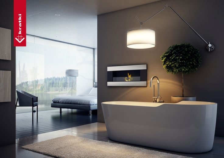 Biofireplace Delta 2 Horizontal #kratki #biofireplace #bathroom #salon #interior
