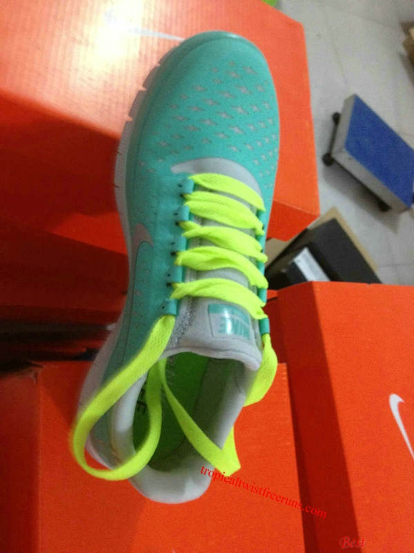 Cheap Fluorescent Green Lace Nike Free 3.0 V4 Tiffany Blue [Twist Free Runs  1013]