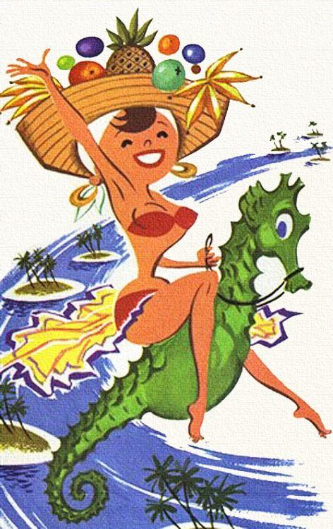 Caribbean Carousel - detail from 1962 BWIA brochure.