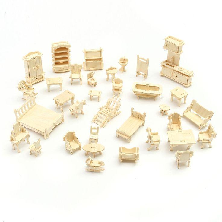 Venta caliente Muebles de casa de Muñecas DIY Mini 34 unids/set Kids Educational 3d Kit Modelo de Artesanía En Madera Puzzle Juguetes hechos a mano regalo de Los Niños