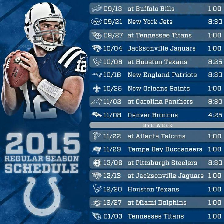 Indianapolis Colts 2015 Schedule just so everyone knows when not to contact me. Just saying