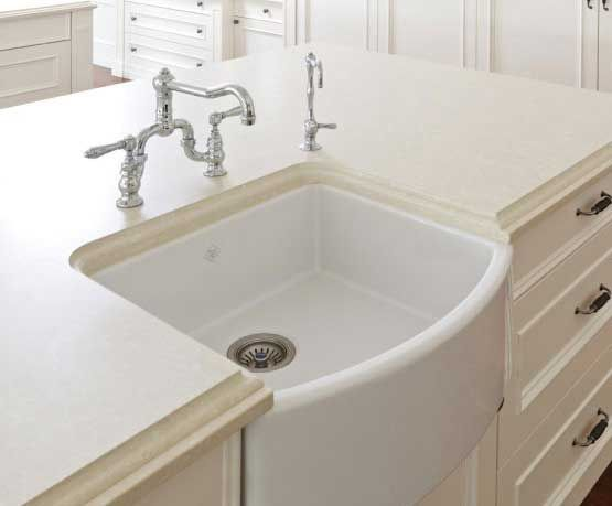 "SOURCE: ROHL  'Shaws sink' fireclay ... Petite /  Size 24 wide"" x 20"" deep with a bowed front. (*Standard farmhouse size is 30"" x 18"".) Small but Mighty Kitchen Products 