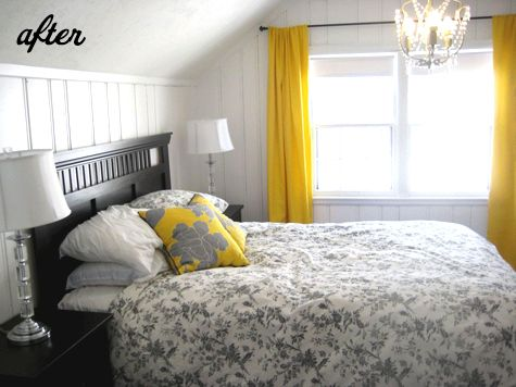 black, white yellow and gray master bedroom | ... www.designsponge.com/2011/04/before-after-two-bedroom-makeovers.html