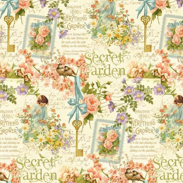 ** Secret Garden - Posy Patch in Ivory-Secret, Garden, Wilmington, Fabric