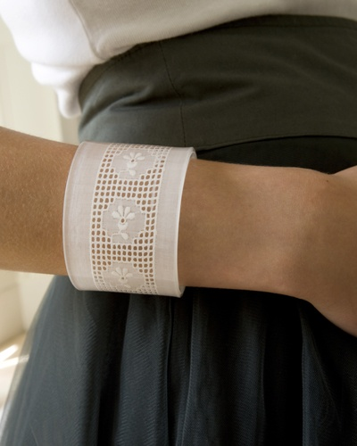 A cuff made from a very old piece of broderie anglaise: cute!