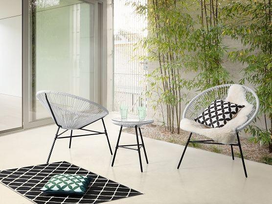 Meble ogrodowe białe - balkonowe - stół z 2 krzesłami - ACAPULCO ✓ Kupuj bez ryzyka z odroczonym terminem płatności z gwarancją 365 dni na zwrot towaru