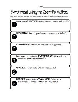 This worksheet is for student use during any experiment that guides them through the Scientific Method. The steps are broken up with guiding questions for each.