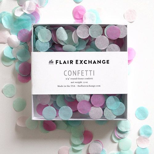 Hand-cut confetti to match our tassel garland kits perfectly. Our confetti is hand-cut and each box is filled and sealed for you. Colors: CANDY SHOPPE (Mint, Aqua, Blush, Raspberry) - .5 oz package co