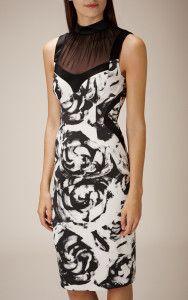 ROSE-PRINT PENCIL DRESS BLACK AND WHITE