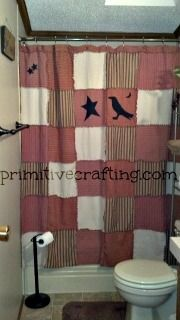 DIY. Primitive shower curtain tutorial. (finally found the directions to make this curtain..yahooo)