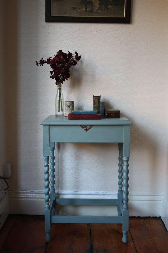 Duck-egg Blue Barley-Twist Desk with vintage by ArthurandEde