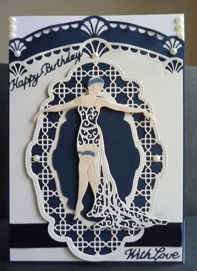 Card made using Tonic Art Deco die and Tattered Lace Deco Party Lady Die