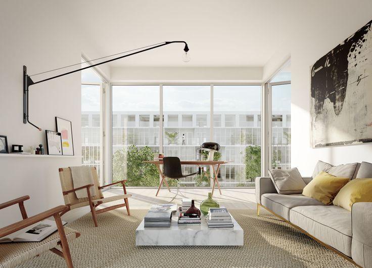 HG7 #oscarproperties livingroom, carpet, bookshelf, carpet, view, curtains, living room, sofa, lamp, furniture, armchair #packhuset