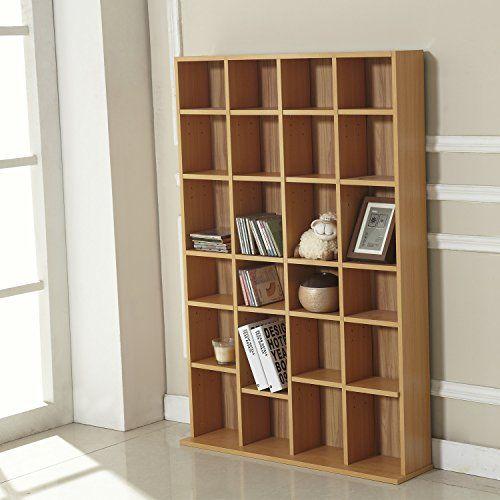 Homcom DVD CD Storage Shelf Rack Media Storage Unit Shelves Racks Wooden Bookcase Display Unit Adjustable Beech by Homcom: Homcom DVD CD…