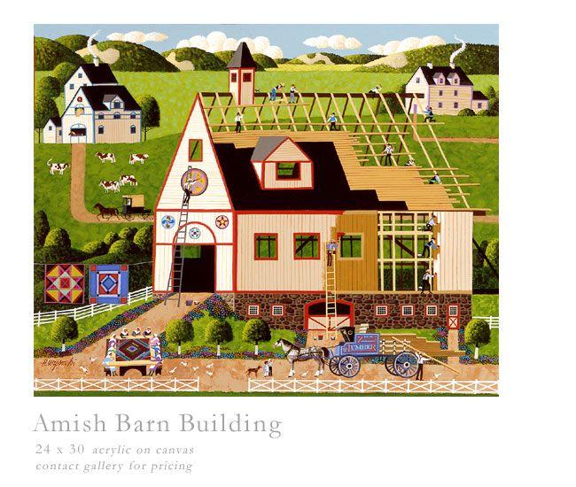 Amish barn building harry wysocki naive art pinterest for Amish barn construction