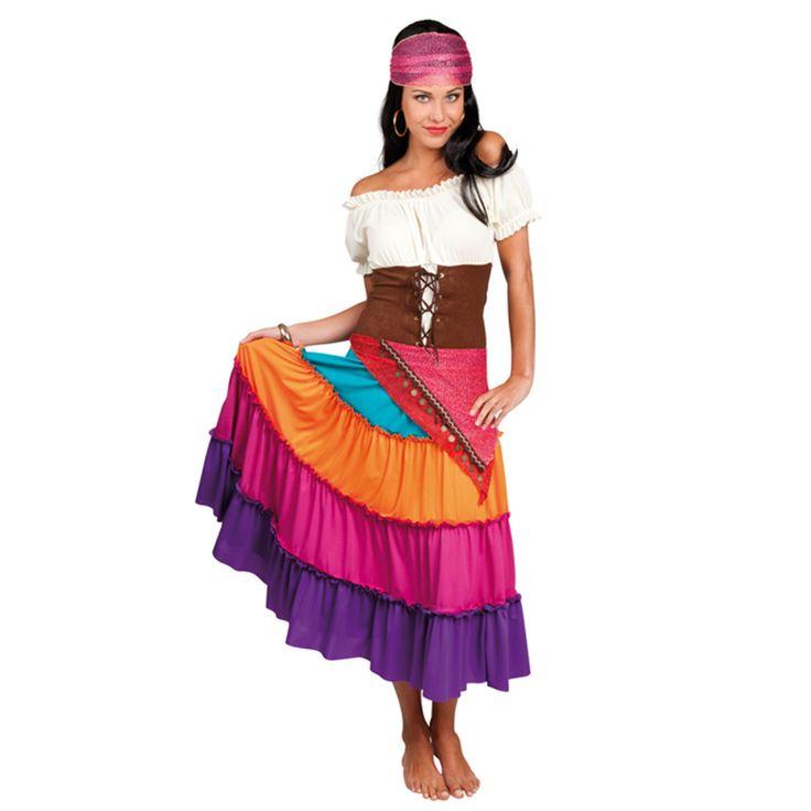 Volwassenkostuum elite zigeuner Nadya bestaande uit een bandana, jurk en ceintuur.