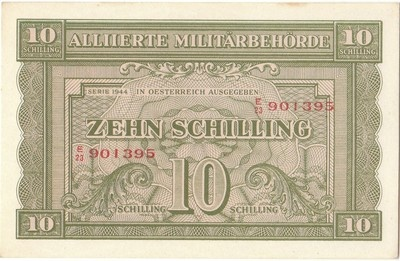The allied occupation of Austria following World War Two is recalled by this 1944 series Allied Military Authority Issue. A very collectible banknote.