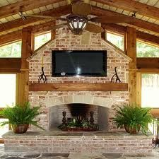 Screen porch with brick fireplace & tv