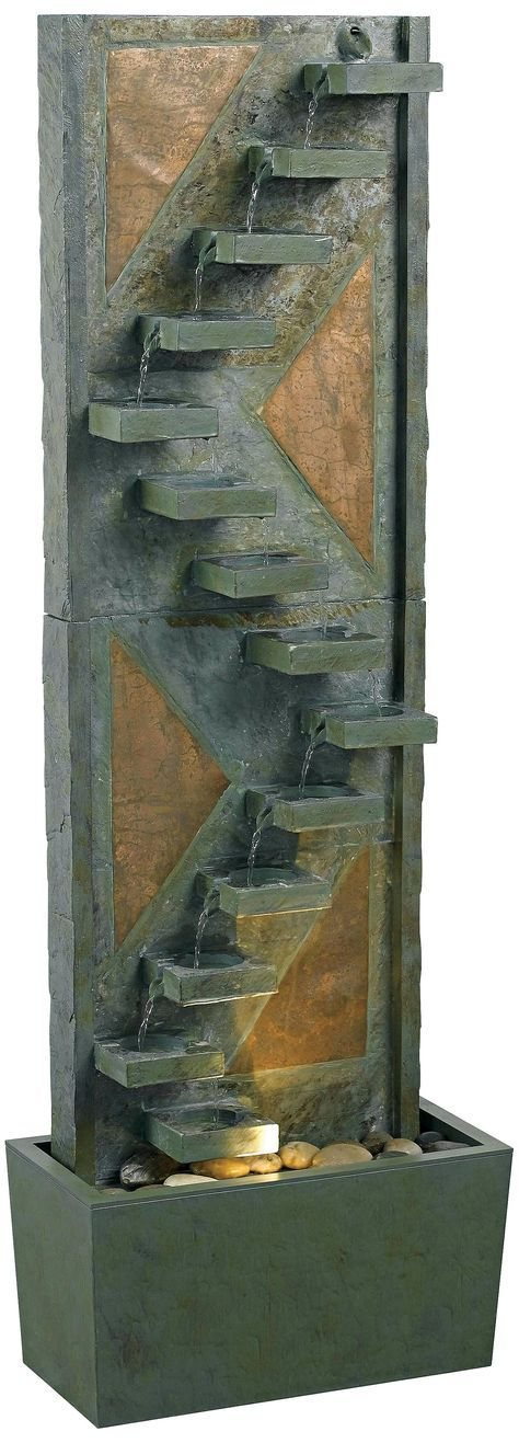 http://diy-gardensupplies.com/ Kenroy Home Traverse Natural Slate Lighted Floor Fountain.  Indoor fountains are gaining popularity all across the globe as they add a lot of flare and style to a room. They are available in a wide variety of sizes, materials, textures, colors, and styles – ranging from sophisticated and rustic to the dramatic ones. Indoor fountains can be small or large, with or without lighting and shiny or quiet.