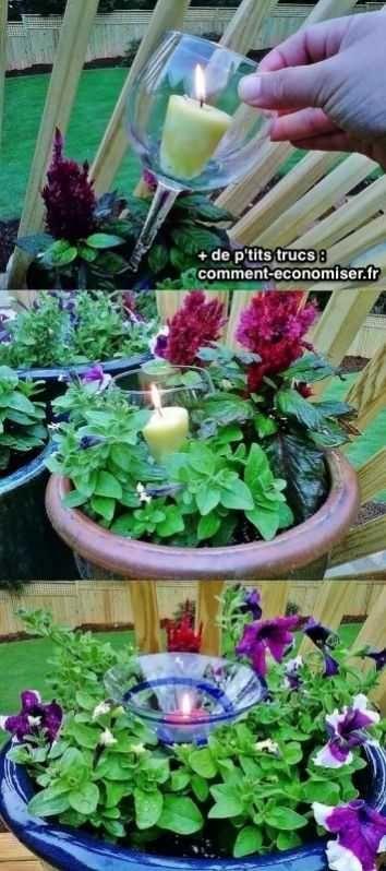 Un verre recyclé en porte-bougie pour pot de fleurs