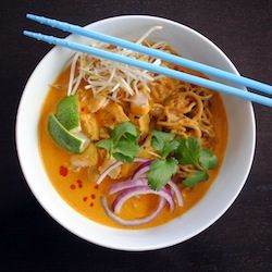 Thai chicken cury noodle Red Curry  For Soup: 1 tablesp olive oil 1 can coconut milk 3 cups chicken broth 3/4 pound boneless, skinless chicken thighs 8 ounces egg noodles 2 tsp rice vinegar 1-1/2 tsp light brown sugar Kosher salt For the Condiments: Bean sprouts Cilantro Lime wedges Sliced red onion Sriracha