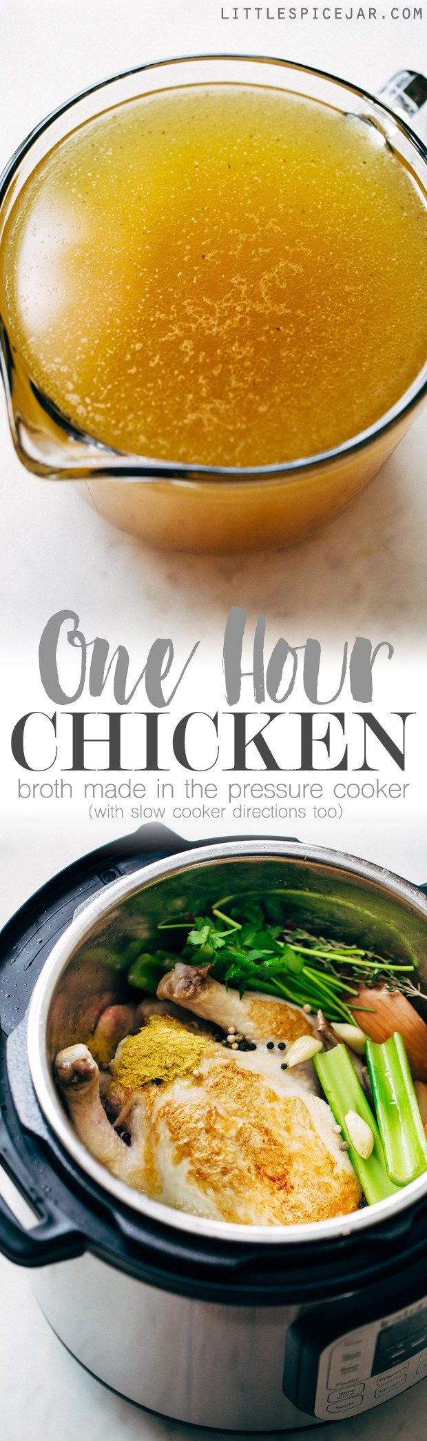 One Hour Pressure Cooker Chicken Broth - Learn how to make chicken broth in a pressure cooker in 1 hour! This is a simple recipe that you can easily prepare and use in all your favorite dishes! #chickenbroth #bonebroth #pressurecooker #instantpot #instantpotchickenbroth | Littlespicejar.com